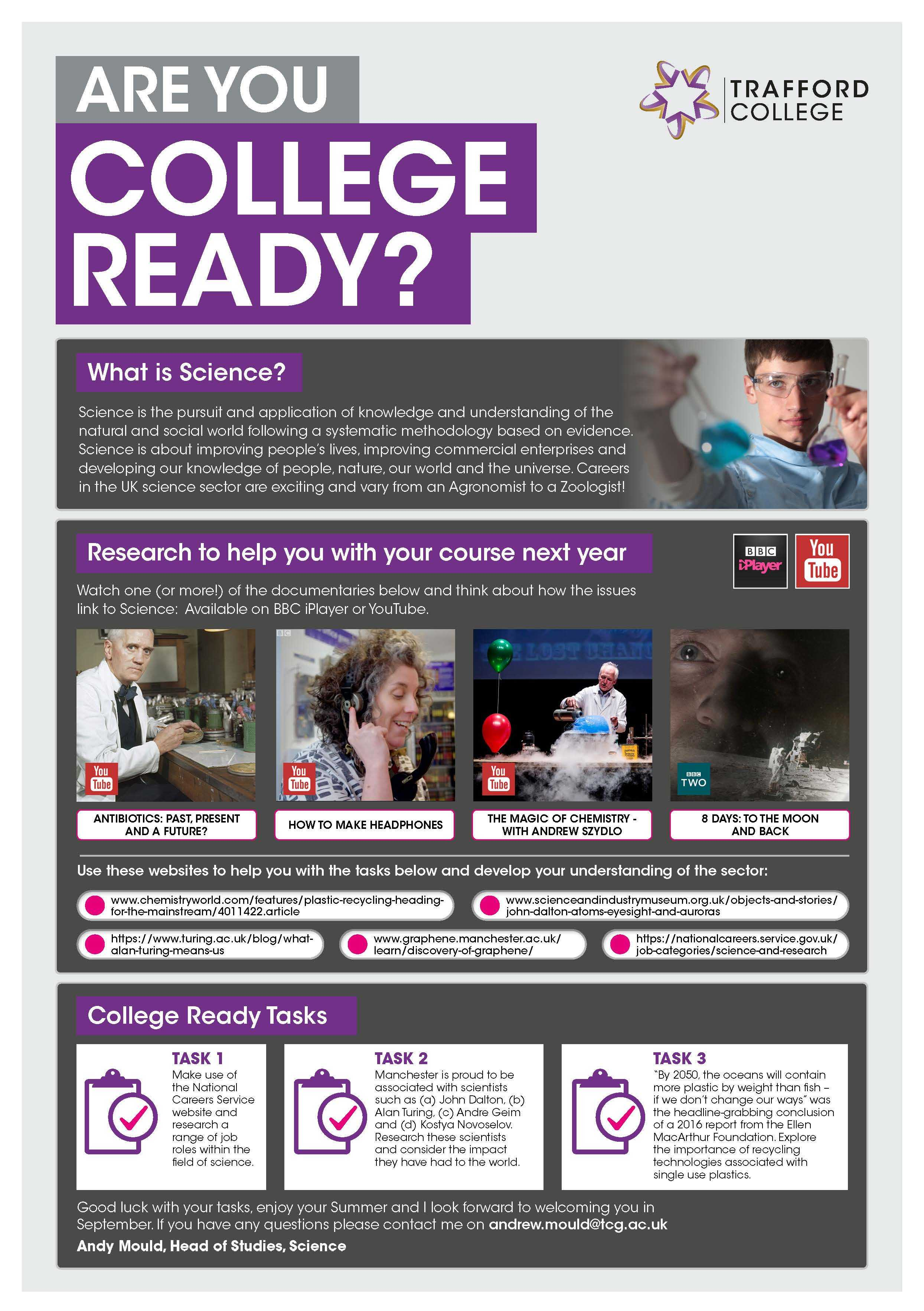 Are You College Ready Transition Leaflet Science TRAFFORD Jun20