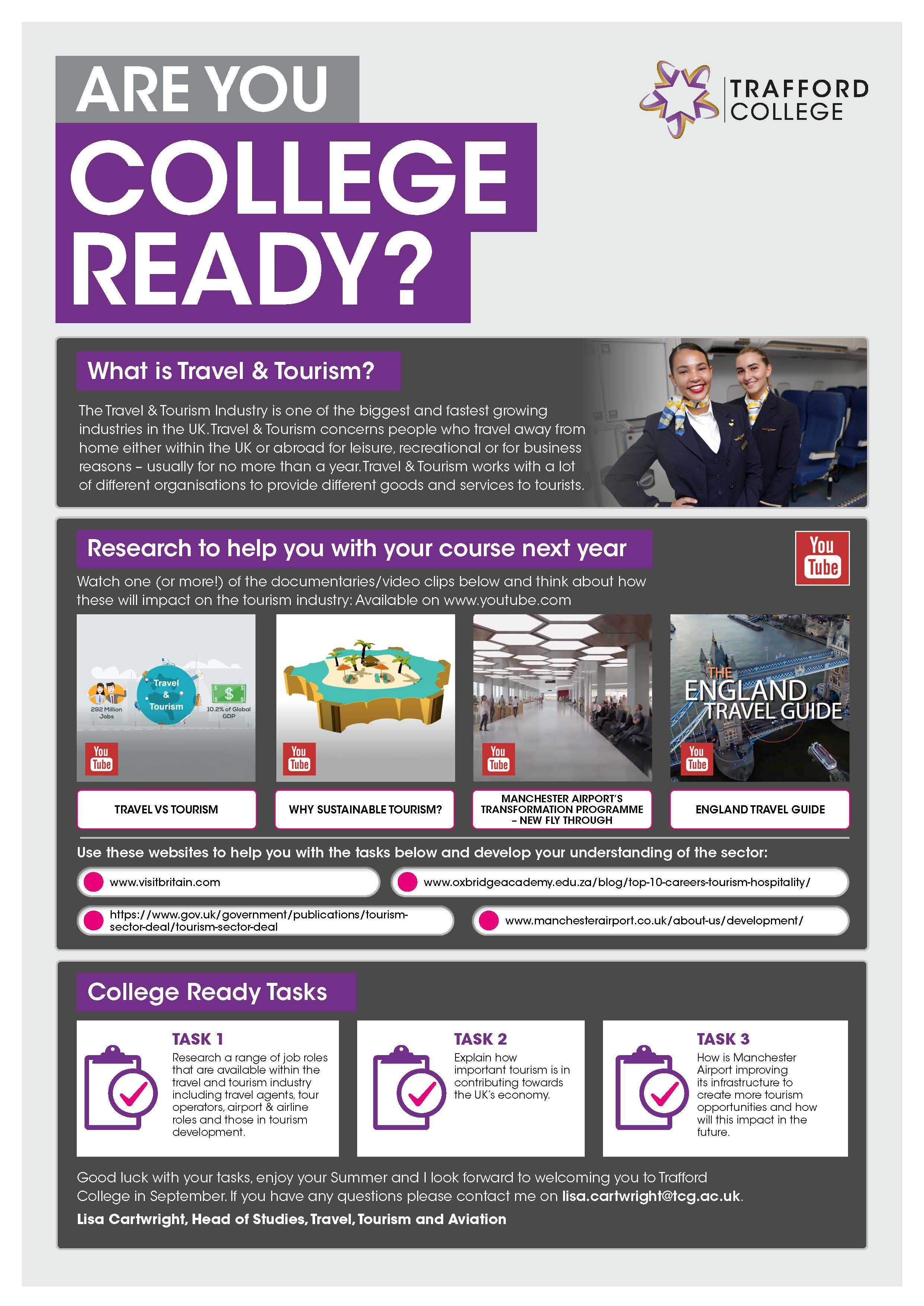 Are You College Ready Transition Leaflet Travel Tourism TRAFFORD Jun20