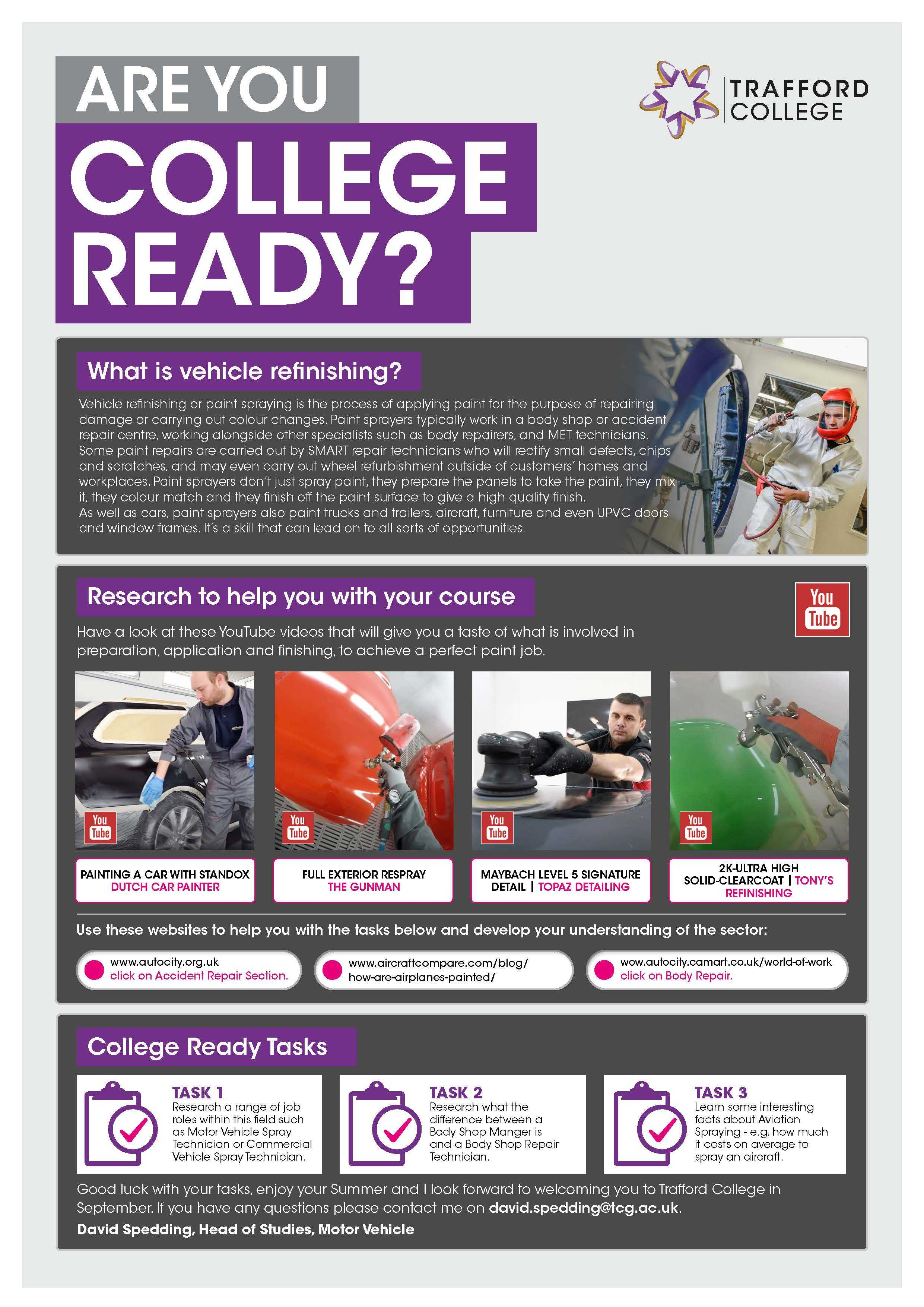 Are You College Ready Transition Leaflet Vehicle Finishing TRAFFORD Jun20