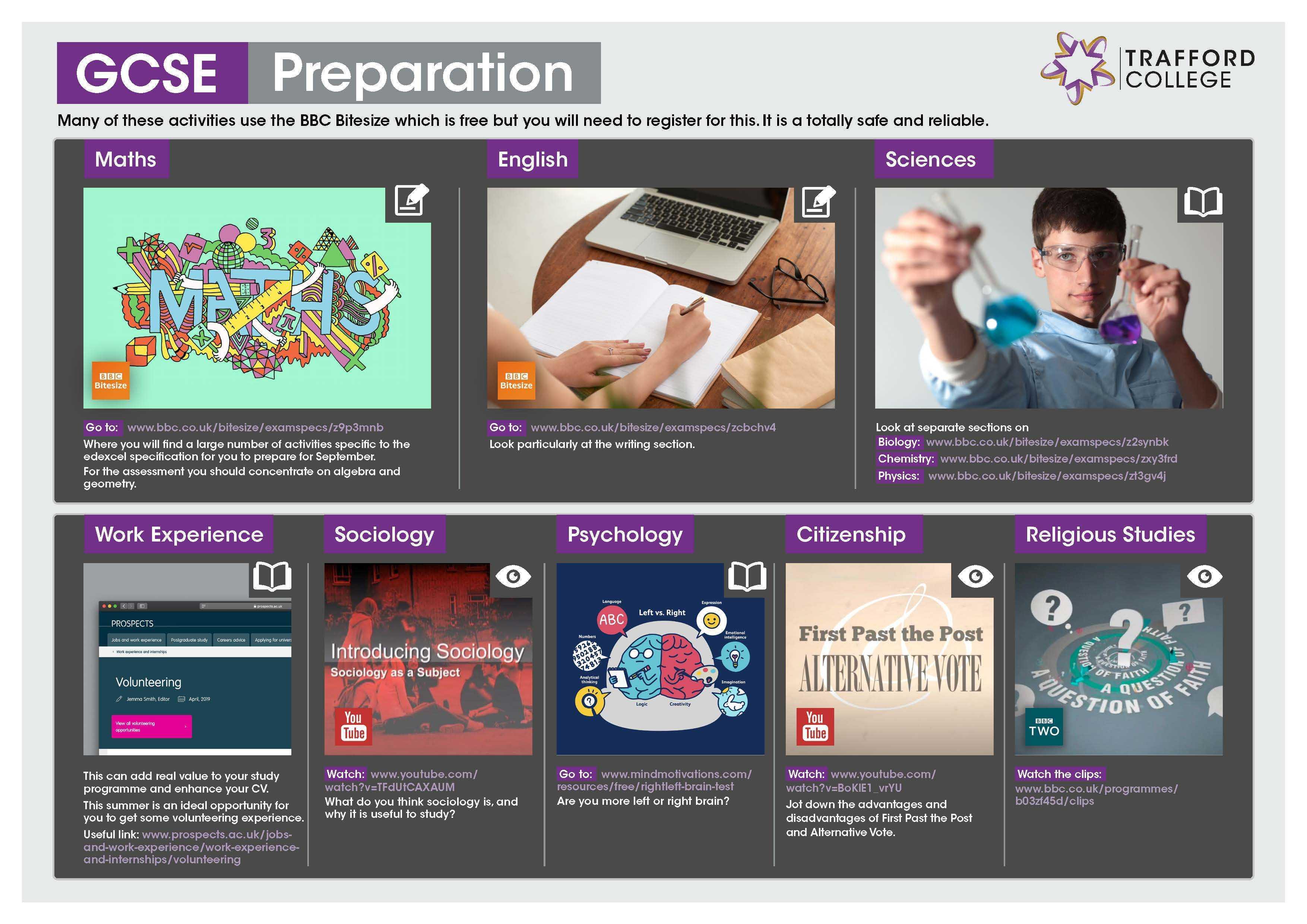 GCSE Preparation Transition Leaflet TRAFFORD Jun20