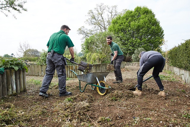 3 male students digging up the ground