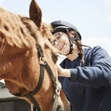 equine student with horse