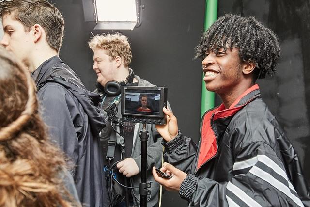 film studies student around camera