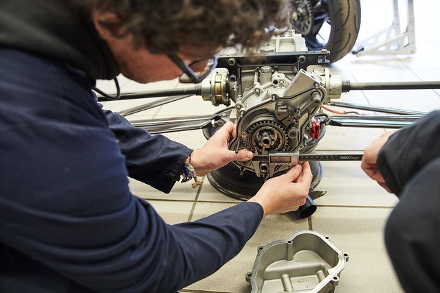 engineering student working with equipment
