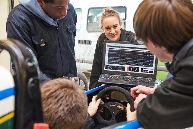 Motorsport Engineering students stood around individual sat in race car