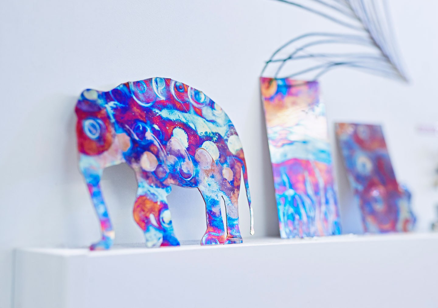 3 D Design and Creative Crafts artwork metal colourful elephant