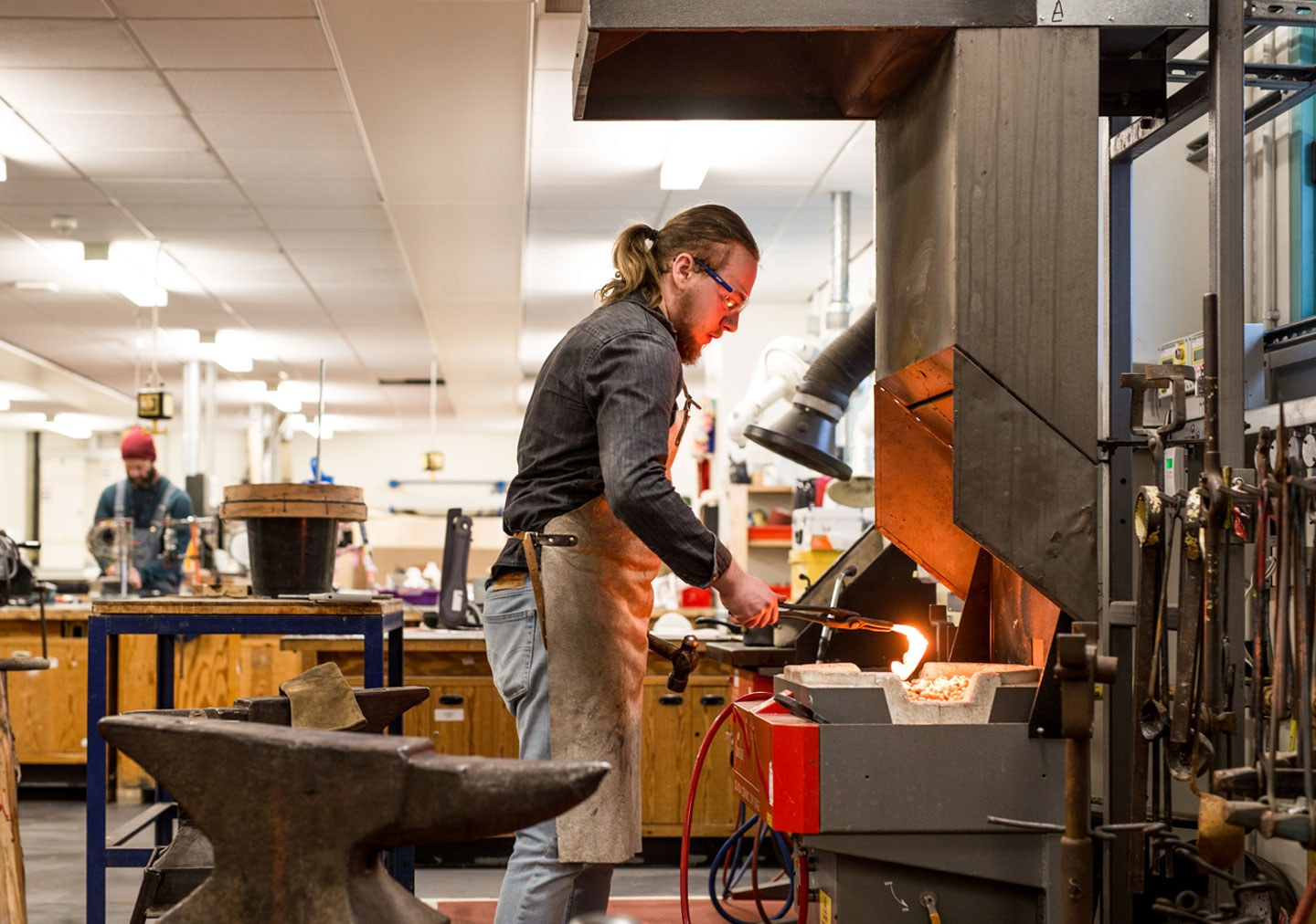 3 D Design and Creative practice student blacksmithing