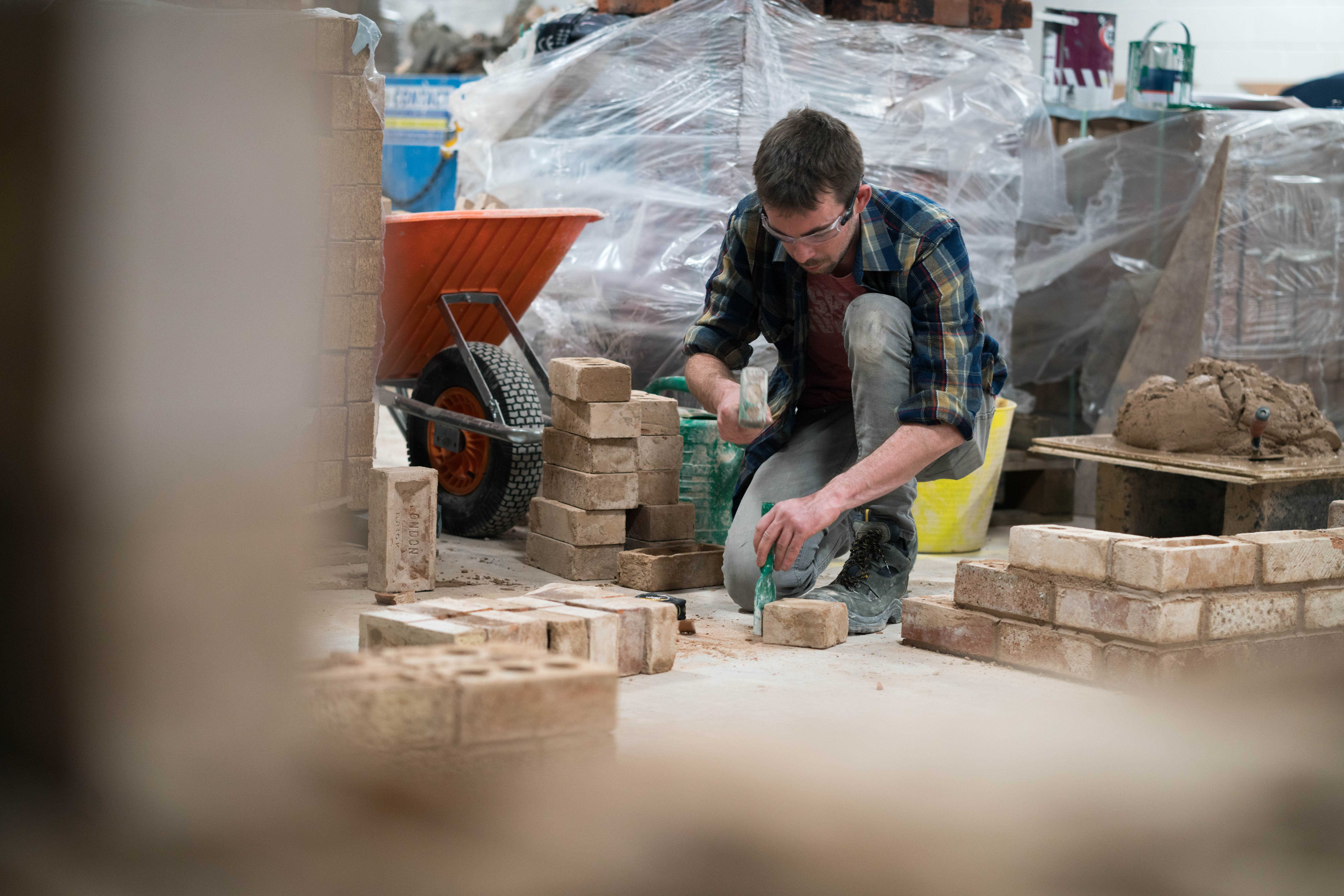 Bricklaying student working on a site