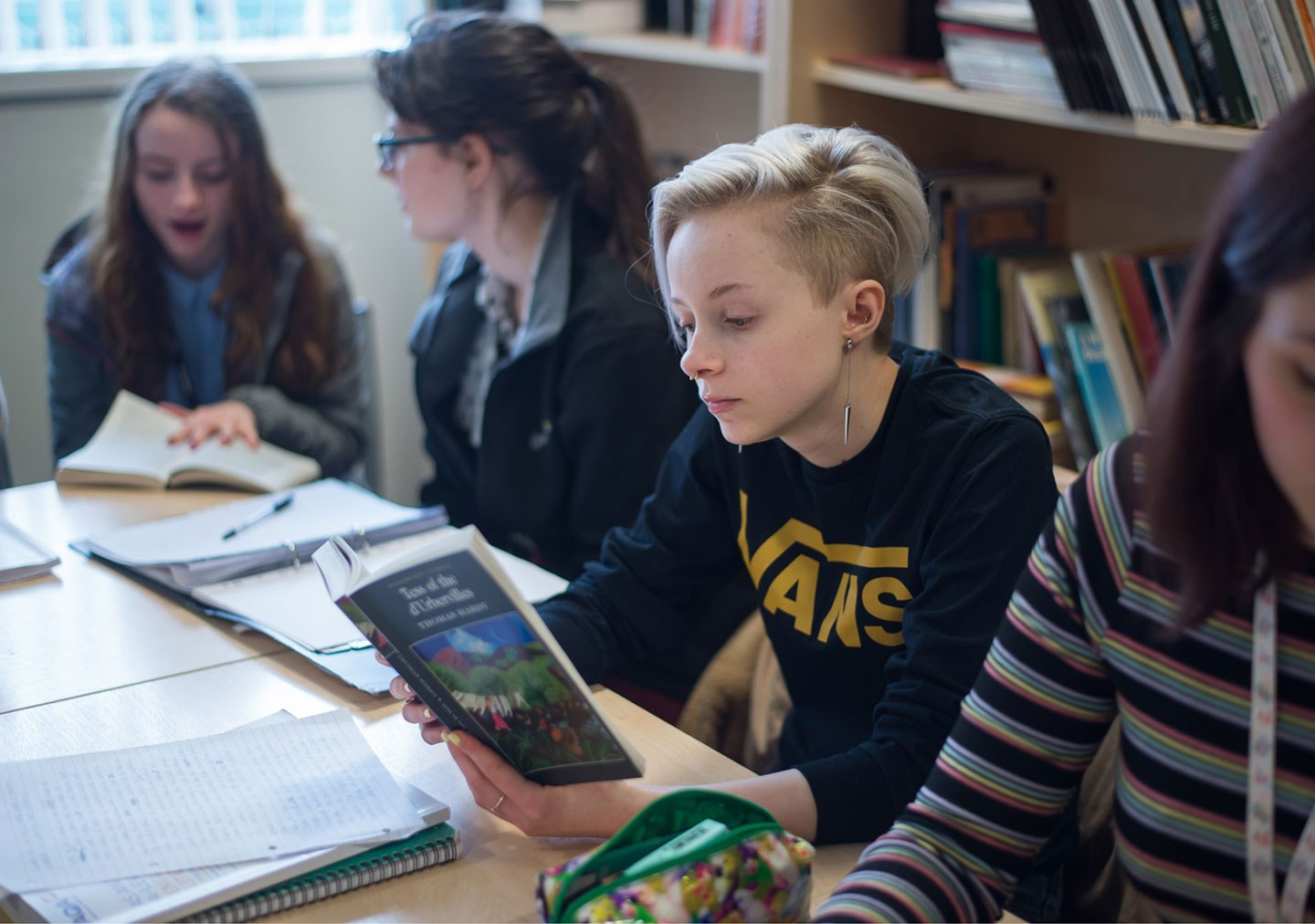 A student is reading Tess of the D'Urbervilles