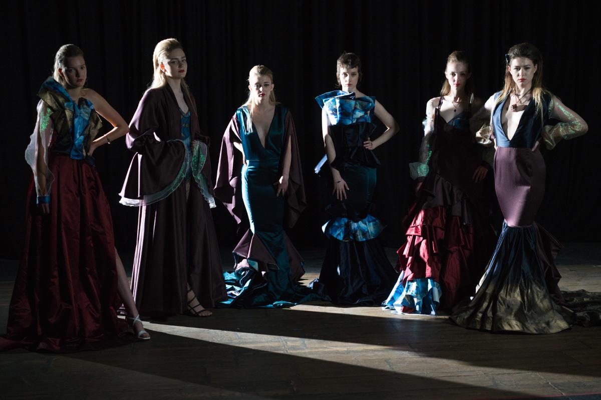 Fashion show 2021 degree student garments on models