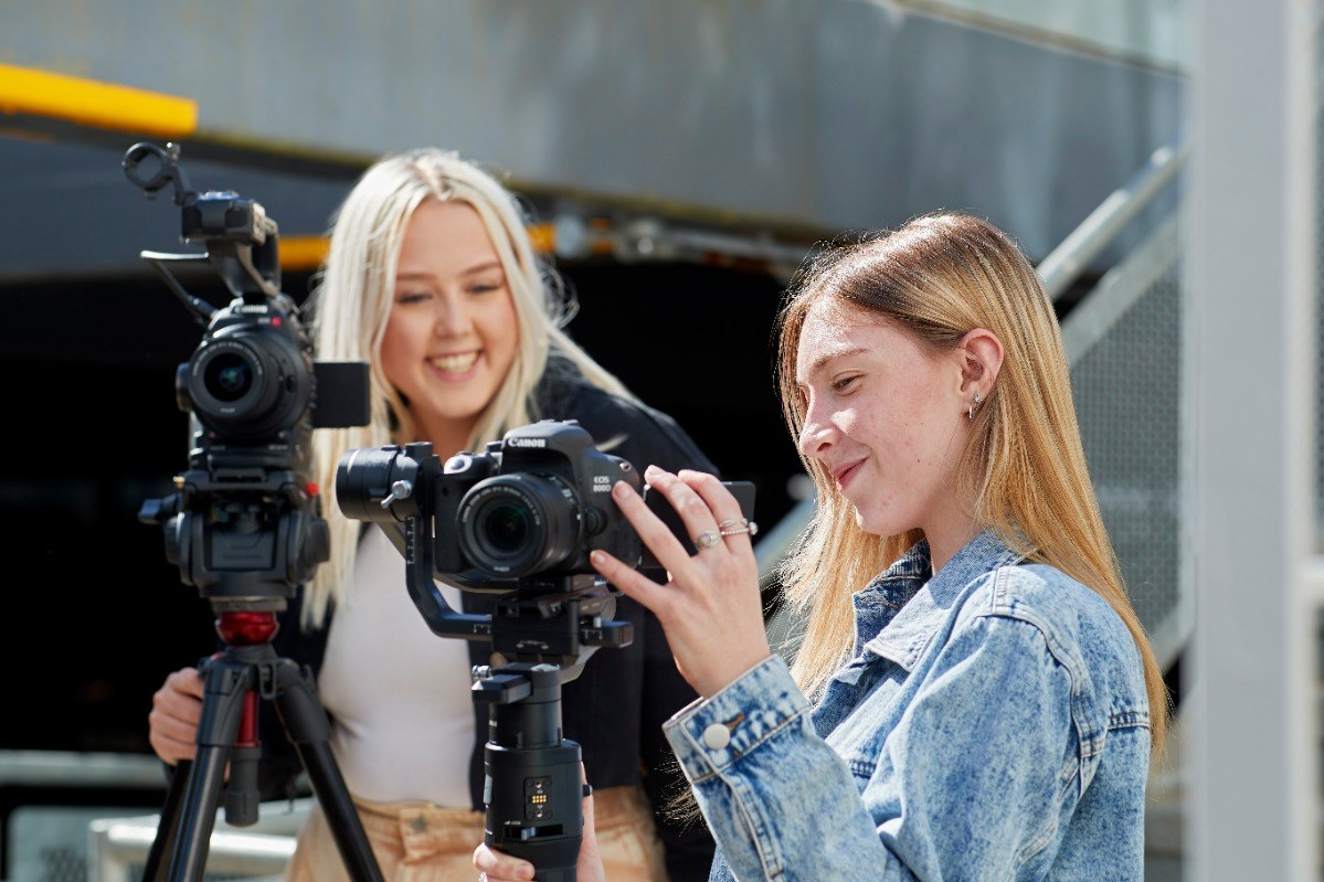 Film students ourside with cameras