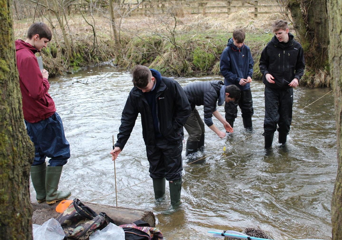 Five students are wading in a river taking measurements of the water levels