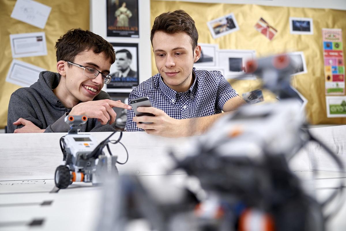 ICT Level 2 students programming robots