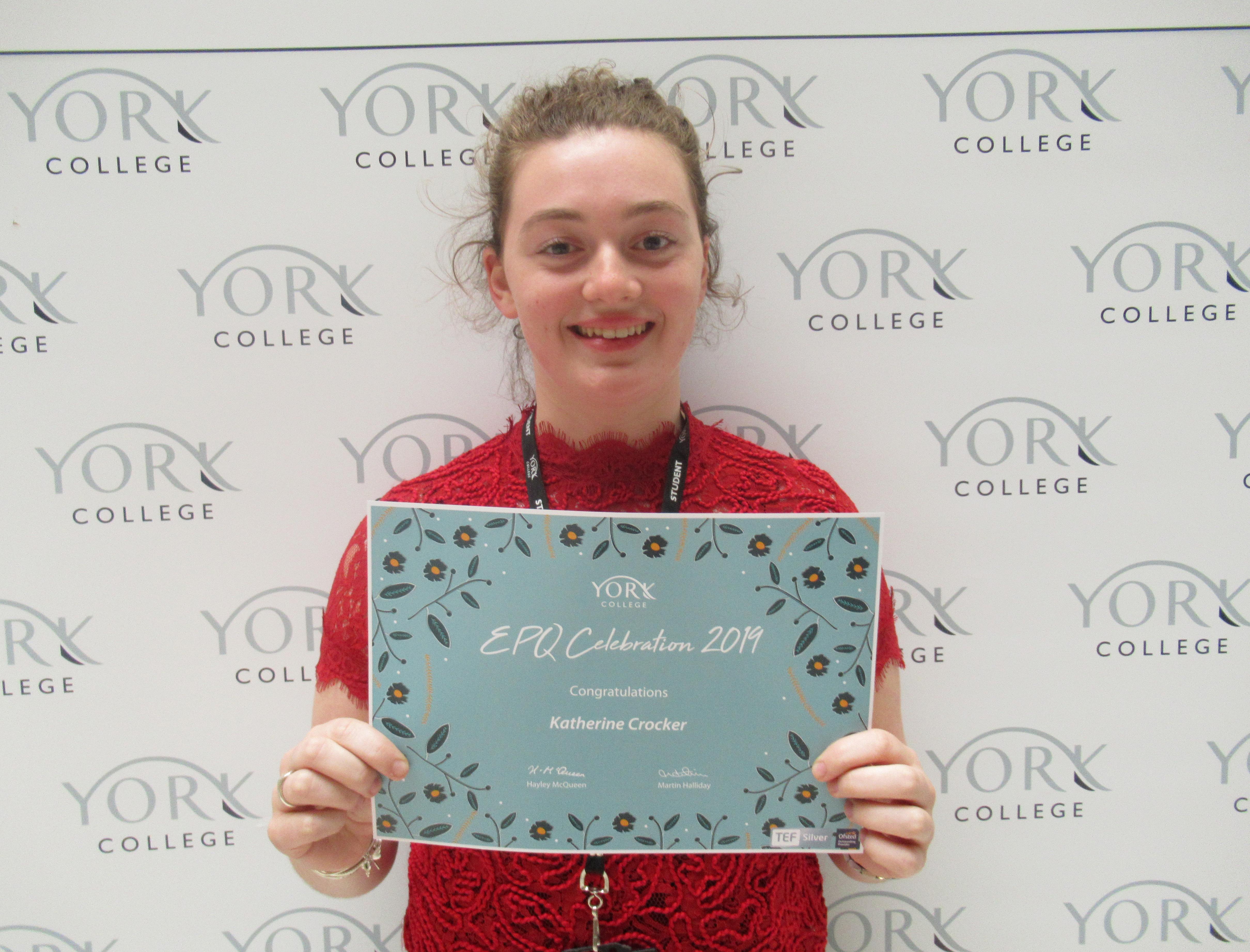 Katie with her EPQ certificate