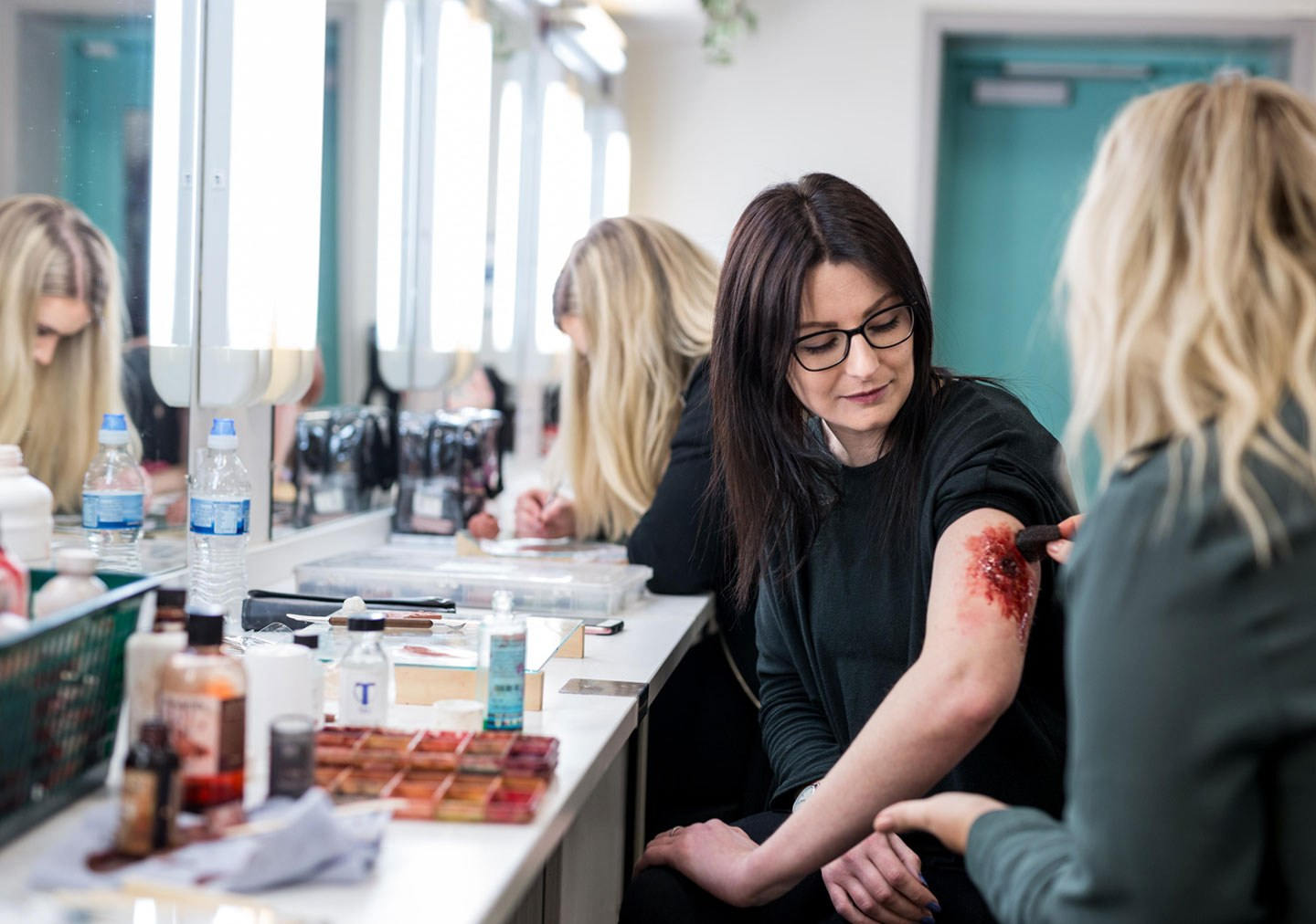 Media make up students working on special effects