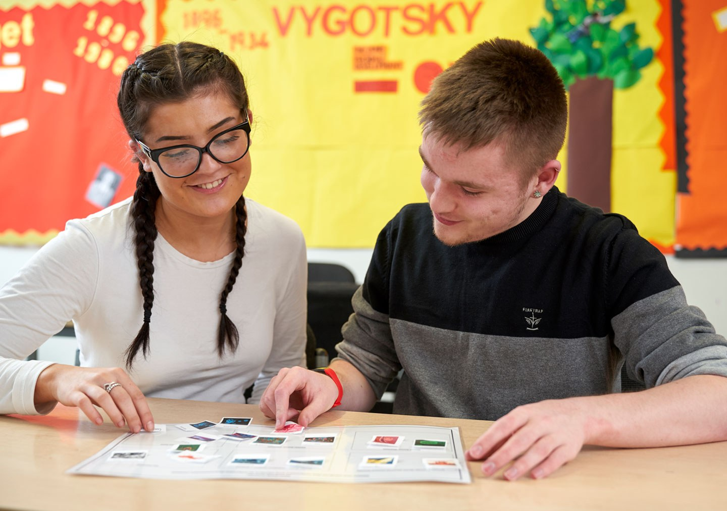 Two students working on an activity together