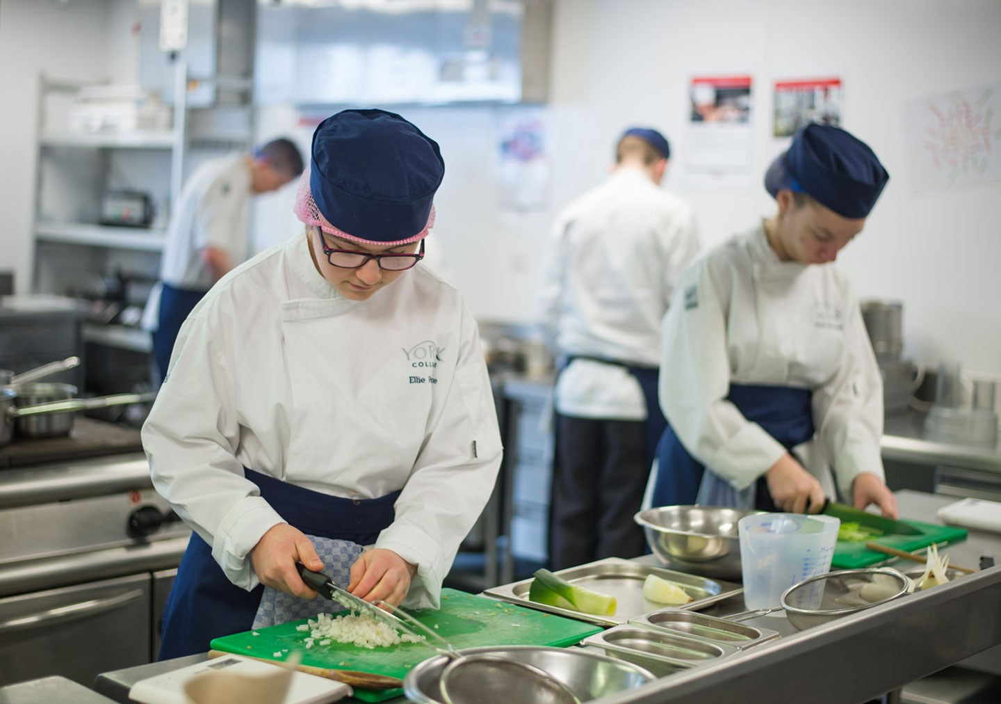 Professional Cookery students working in the training kitchen