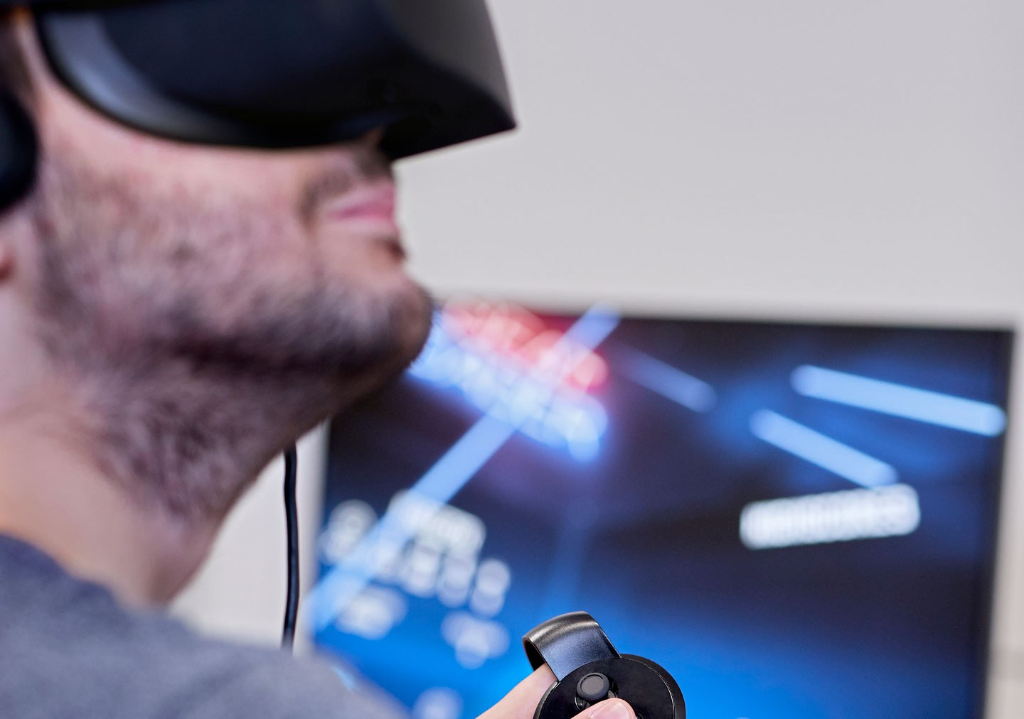 Student with VR headset on