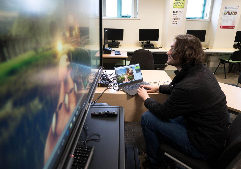 Student working on games development