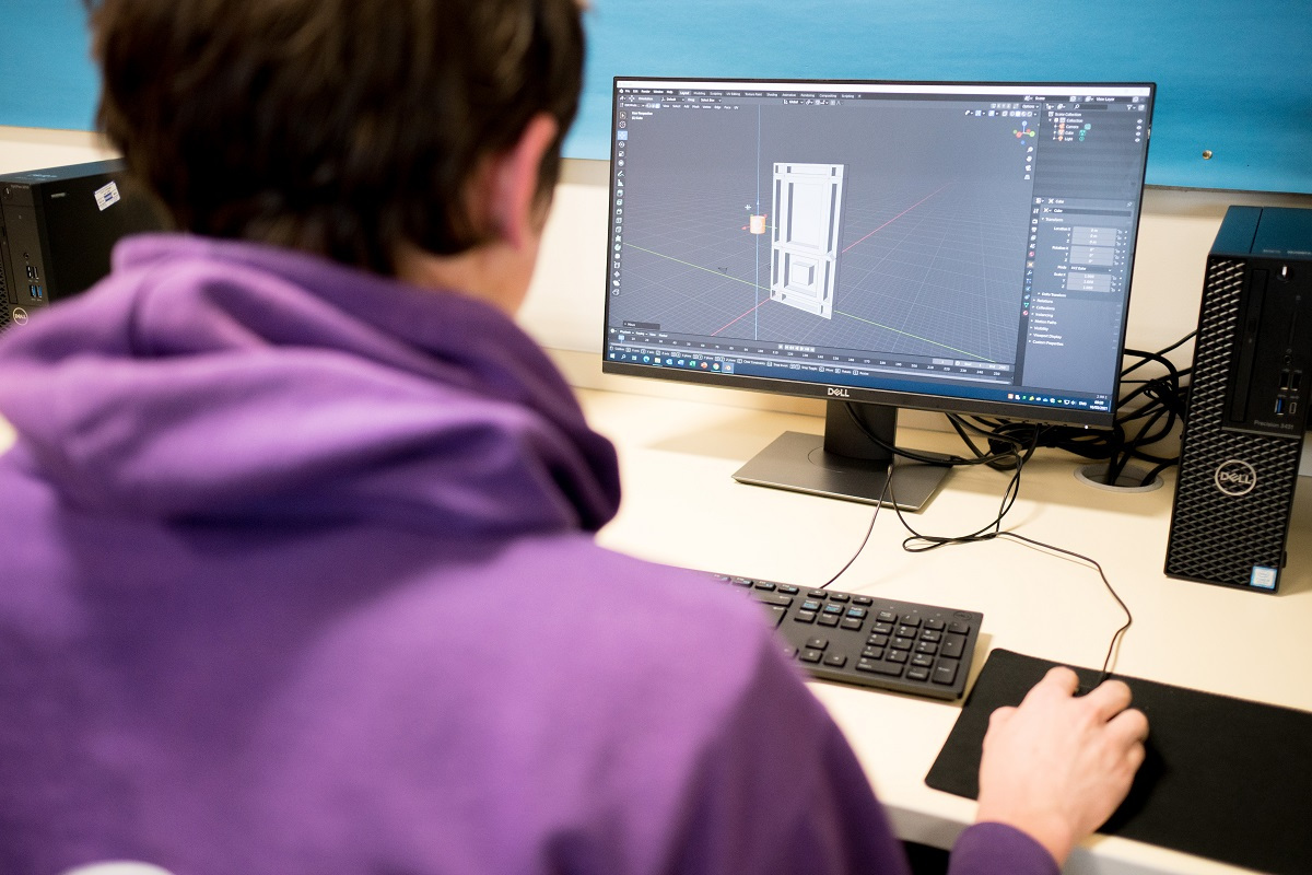 Student working on their project for Computer Games Development Level 2