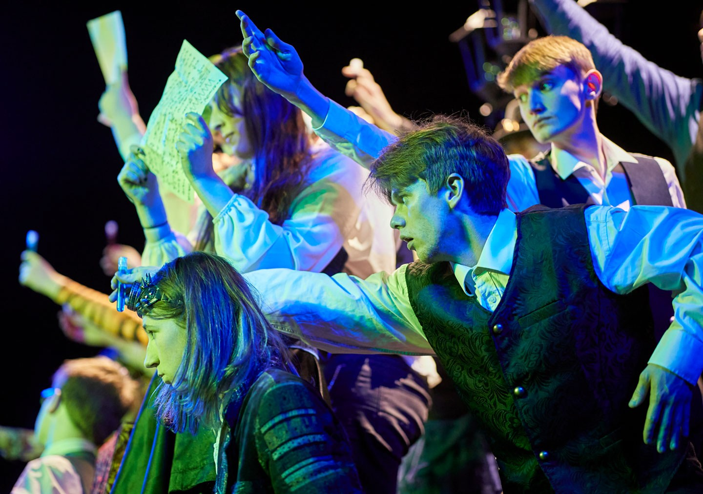 Students acting in performance of Jekyll and Hyde
