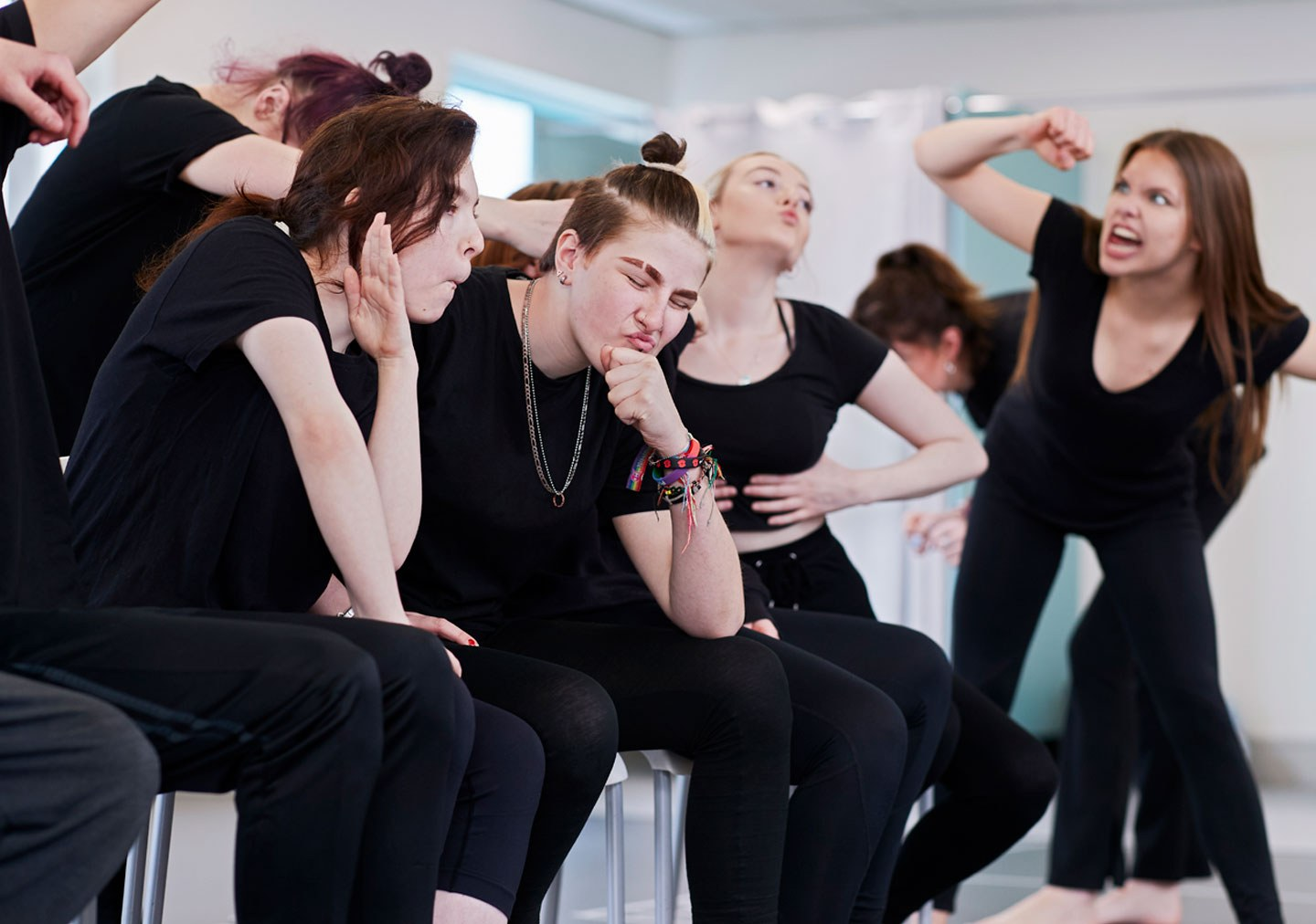 Students in perfromance and production workshop working on movement and facial expressions