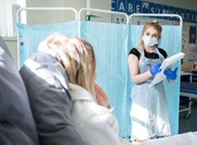 T Levels Students role planying a situation with a nurse and patient