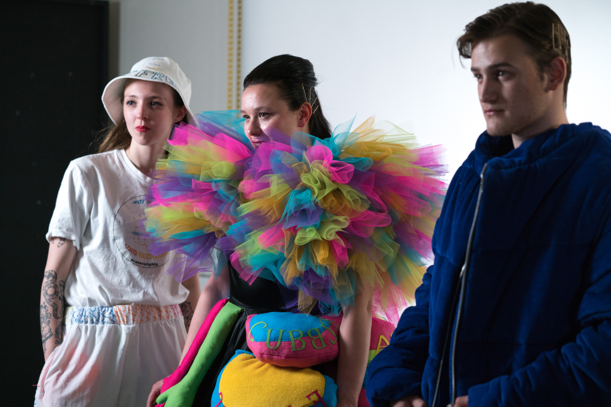 University Centre fashion students Image of finished garments in the photography studio