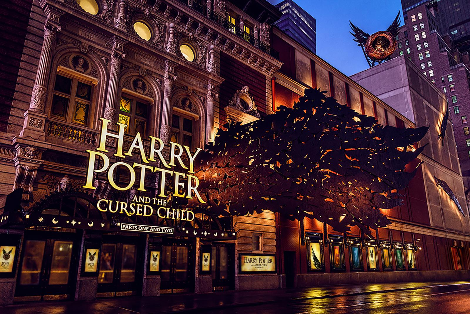 New York's Lyric Theatre Marquee Takes Flight Ahead of the Broadway Premiere of Harry Potter and the Cursed Child Parts One and Two