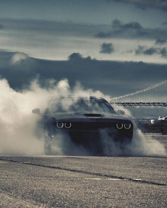 Black car in smoke