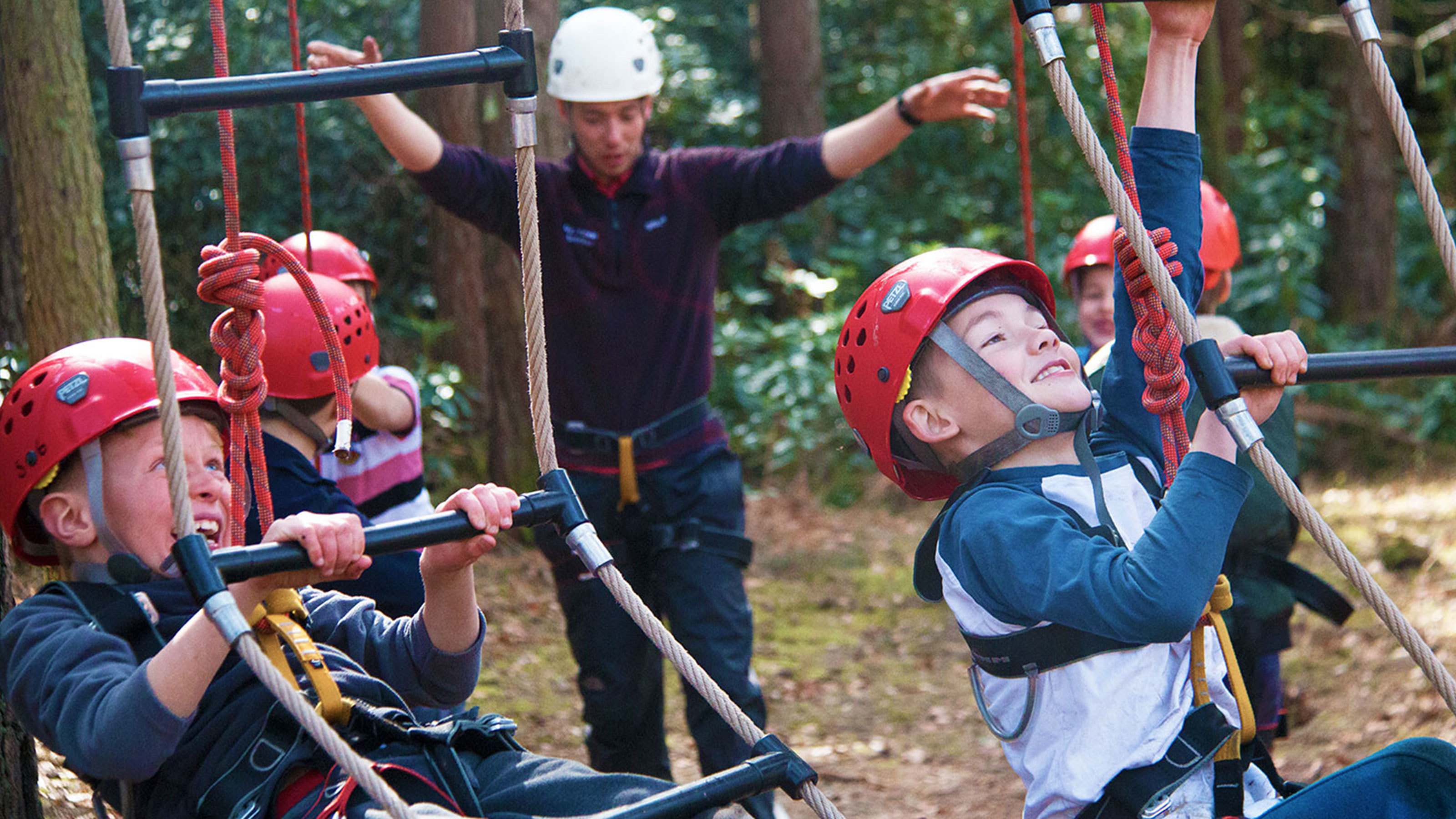 Children enjoying the High Ropes course