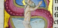 Initial incorporating King David praying in water (St John's manuscript 131)