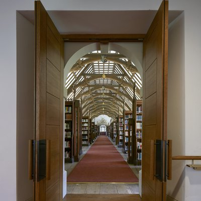 The new entrance to the Laudian Library at its northern end