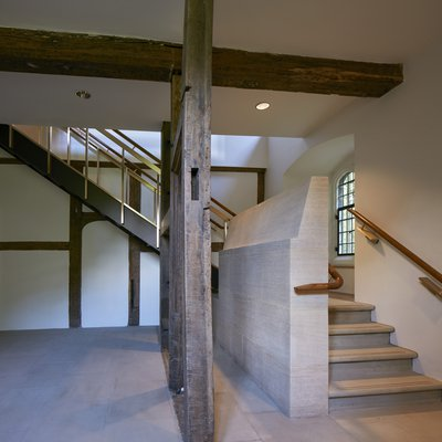 The remodelled northeast corner of Canterbury Quad and stairs to the Laudian Library
