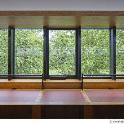 The Upper Reading Room and first floor offices take full advantage of views into the Groves.
