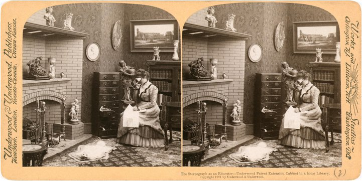 """Figure 1: """"The stereograph as an educator"""", illustrating the virtual reality technology of the Victorian era."""