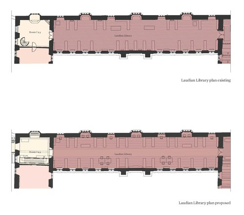 Laudian Library before and after plans