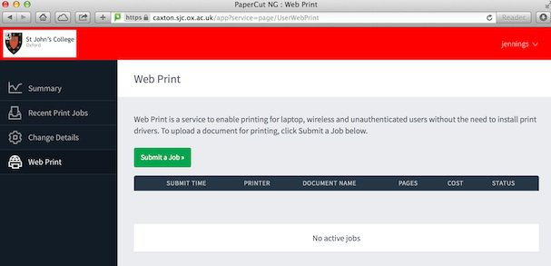 Papercut submit a job screen