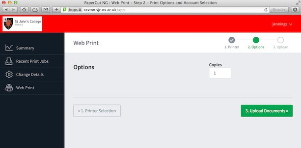 Papercut number of copies screen