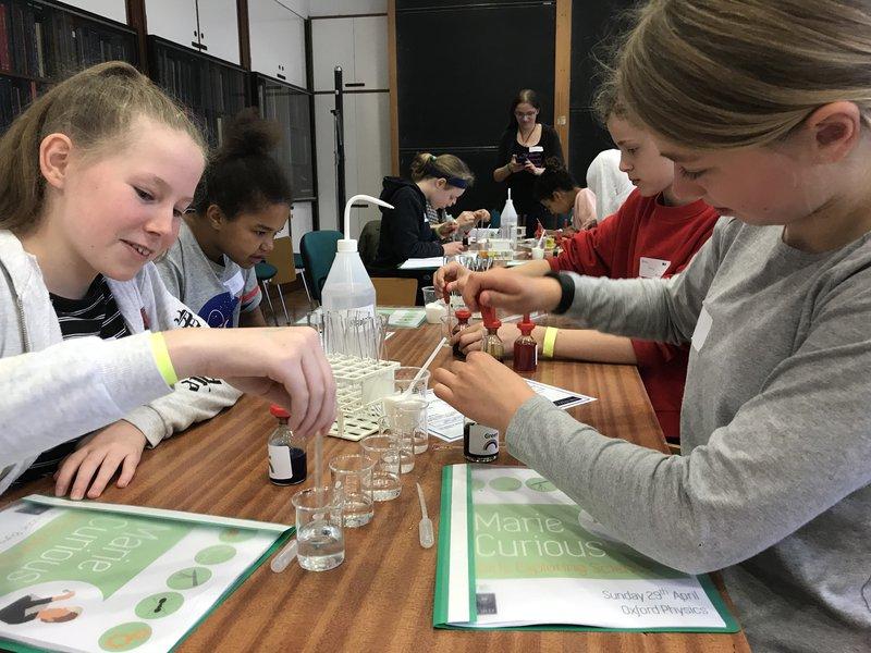 Teenagers doing science