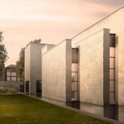 Study Centre west elevation Susanna Heron's panels