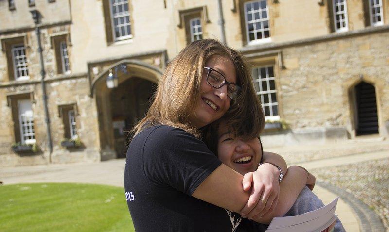 Student hug in Front Quad