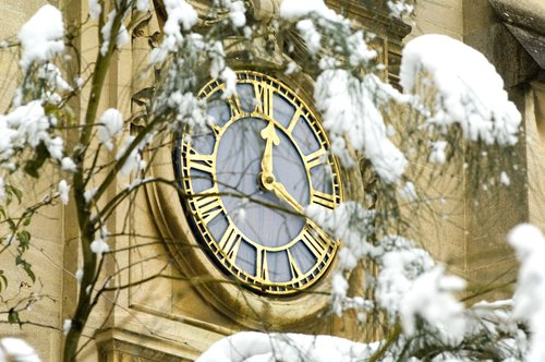 clock in snow