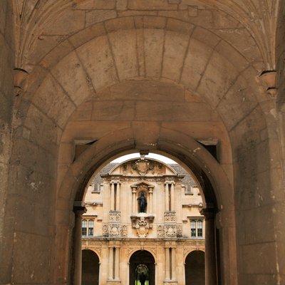 view through the arch into Canterbury Quad