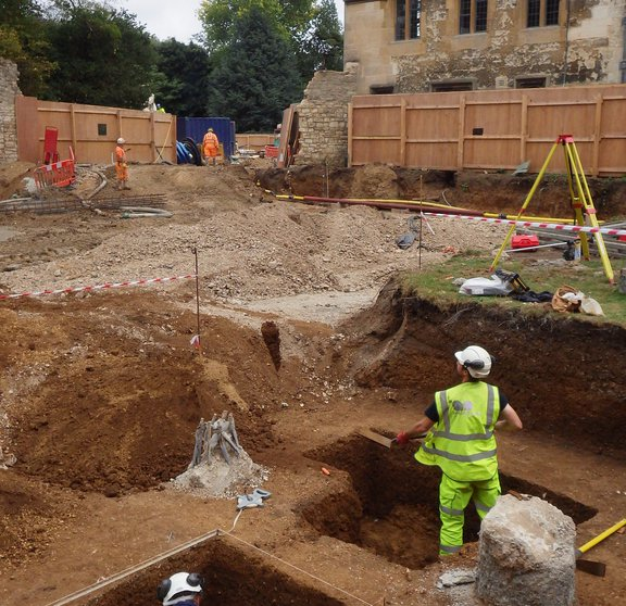 archaeologists working on the site of the new Library & Study Centre
