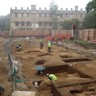 Archaeologists at work at the site of the new Library & Study Centre