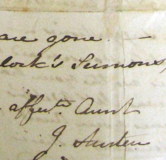 Detail of Jane Austen's signature from a letter to her niece Anna