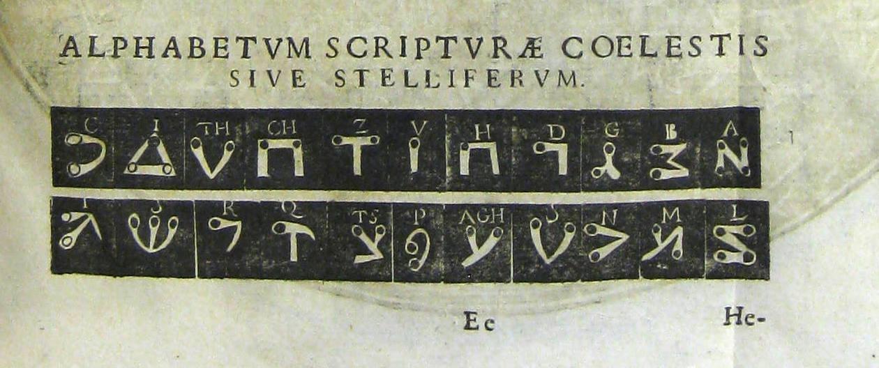 Athanasius Kircher's stellar alphabet