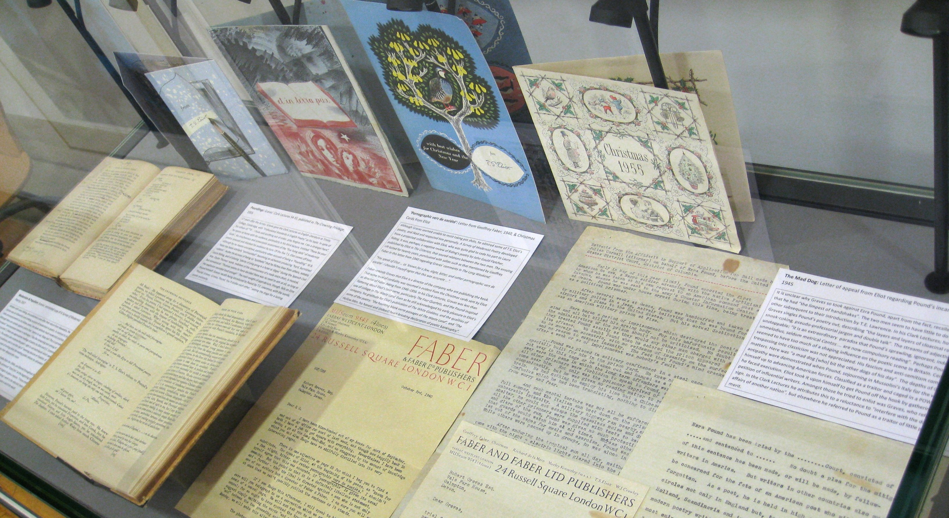 Display of material from the Robert Graves Archive