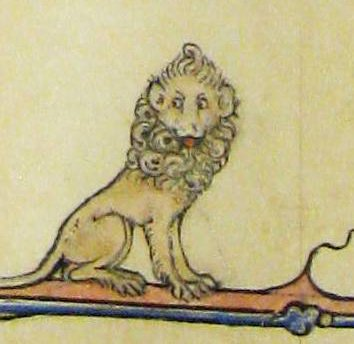 A lion in the margin of a 14th century psalter